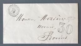 France 1867 Sur Lettre De Donnemaris En Montois Pour Provins - Taxe Double Trait 30 - (B1917) - 1849-1876: Klassieke Periode