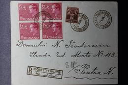 Romania Registered Cover 1936 LUNA BUCURESTILOR EXhibition Block Of 4 Mi 508 Special Cancel Expozitia Bucurestilor - Covers & Documents