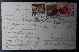 Romania Picture Postcard  Postal Use Of Tax Stamps From Bazau Cds To Carnauti 1938, Fold In Card - Brieven En Documenten