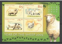 D707 2003 TONGA FAUNA ANIMALS LUNAR CALENDAR YEAR OF THE SHEEP BL44 KB MNH - Chinese New Year