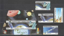 D722 2000 TONGA SPACE SATELLITES !!! SILVER #1574-7 MICHEL 20 EURO BL+SET MNH BL HAS A CREASED UPPER RIGHT CORNER - Other