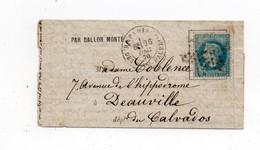 !!! BALLON MONTE LE TOURVILLE DU 26/12/1870 POUR DEAUVILLE, AVEC TEXTE - Postmark Collection (Covers)
