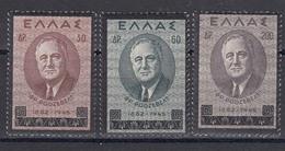 Grece 1945 - Roosvelt, Mi-Nr. 509/11, MNH** - Grèce