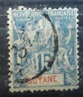 GUYANE FRANÇAISE ,  1892, Type Groupe Yvert No 35 , 15 C Bleu Obl ,  TB - Französisch-Guayana (1886-1949)