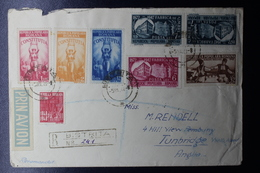 Romania Registered Airmail Cover 1948 7L50 In Tete-beche Pair Bistrita Via Bucuresti To Turnbridge UK - Cartas