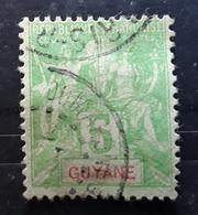 GUYANE FRANÇAISE , 1900 , Type Groupe Yvert No 43,  5 C Vert Jaune Obl DOUBLE Cachet ST LAURENT DU MARONI + PARIS  ,  TB - Französisch-Guayana (1886-1949)