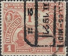 BELGIUM 1920 Railway Stamps - Steam Train - 1f - Brown FU - 1915-1921