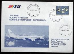 First SAS Boeing - 767 Flight Søndre Strømfjord - Copenhagen 1990 ( Lot 194 ) - Brieven En Documenten