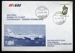 First SAS Boeing - 767 Flight Copenhagen - Søndre Strømfjord   1990 ( Lot 194 ) - Brieven En Documenten