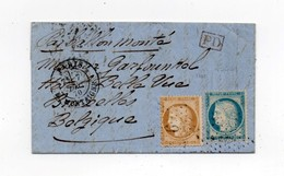 !!! BALLON MONTE LE GENERAL RENAULT DU 7/12/1870 POUR LA BELGIQUE, AVEC TEXTE - Marcophilie (Lettres)