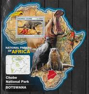 SIERRA LEONE BF 965  * *  ( Cote 20e )  Parc  Bostswana Oiseaux Guepier Hippopotame Mangouste Pintade - Francobolli
