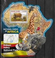 SIERRA LEONE BF 963  * *  ( Cote 20e )  Parc Ouganda Sanglier Girafe Aigle - Francobolli
