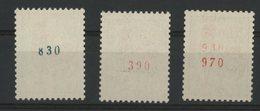 N° 1331c + 1331b + 1331Ab / COTE 358.5 € ** (MNH). Timbres De Roulette Type Coq De Decaris, Numéros Vert Et Rouge. TB - Ungebraucht