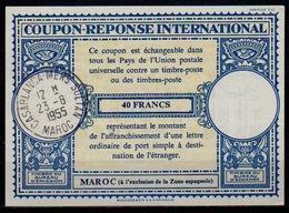 MAROC / MOROCCO Lo16n 40 FRANCS Int.Reply Coupon Reponse AntwortscheinIAS IRC O CASABLANCA MERS SULTAN23.8.55 - Marokko (1956-...)