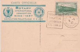 YT 339 CAD Nice 6 6 37 Daguin Rotary Nice Philatelic Exhibition 6 8 Juin 1937 CPA Nice Rotary International Convention - Marcophilie (Lettres)