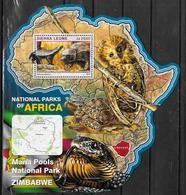 SIERRA LEONE BF 960  * *  ( Cote 20e )  Parc Zimbabwe Ratel Hiboux Chouettes Serpents Tortues - Francobolli