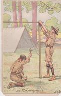 CPA Avec Publicité Pour La Belle Jardinière Le Campement Illustration De Job Scout Scoutisme - Scoutisme