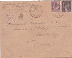25c Sage 20c Mouchon S / Env Recommande T.P. Ob Lyon 21 7 09 Pour Annonay Ardèche - Marcophilie (Lettres)
