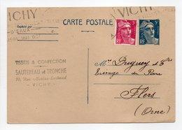 - Carte Postale TISSUS & CONFECTION SAUTEREAU Et TRONCHE, VICHY Pour TISSAGES DUGUEY, FLERS 13.10.1948 - - Postwaardestukken