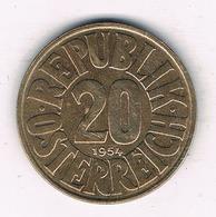 20 GROSCHEN 1954    OOSTENRIJK /413/ - Autriche