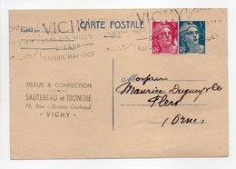 - Carte Postale TISSUS & CONFECTION SAUTEREAU Et TRONCHE, VICHY Pour TISSAGES DUGUEY, FLERS 1.12.1948 - - Postwaardestukken