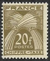TAXE  N°  77 -  Chiffre-Taxe Gerbes  20f - NEUF** - Cote 11.70e - 1859-1955 Mint/hinged