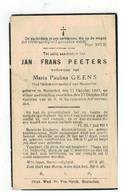 DP JAN FRANS PEETERS Geb. Booischot 1847 Gemeenteraadslid,wedn. V Paulina GEENS,gestorven Booischot 1939 - Religion & Esotérisme