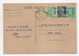- Carte Postale MAISON BIGEAULT, TOURS Pour TISSAGES DUGUEY, FLERS 1.7.1949 - - Entiers Postaux