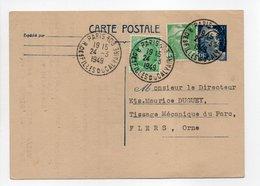 - Carte Postale MAISON JAGER, PARIS Pour TISSAGES DUGUEY, FLERS 24.3.1949 - - Entiers Postaux