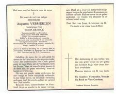 DP Augustinus VERMEULEN Geb.Heist O D Berg Gemeenteraadslid Oud-strijder,wedn. V EMMA DE RIJCK,gestorven Booischot 1961 - Religion & Esotérisme