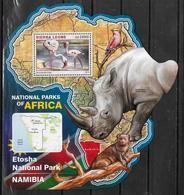 SIERRA LEONE BF 967  * *  ( Cote 20e )  Parc Namibie Oiseaux Flamant Rose Rhinoceros Mangouste - Fenicotteri