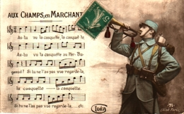 Idéa 71 Patriotique Partition Aux Champs En Marchant - Guerra 1914-18