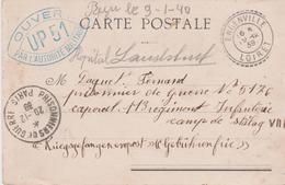 Guerre 39 45 Censure Ouvert Autorité Militaire UP 51 Bleu Paris Rare Prisonnier Stalag VII A Moosburg Région 7 Munich - Marcophilie (Lettres)