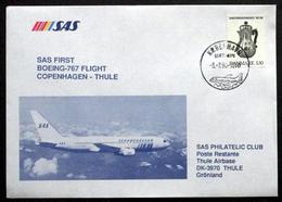 First SAS Boeing - 767 Flight Copenhagen - Thule 1990 ( Lot 200 ) - Brieven En Documenten