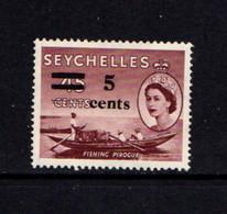 SEYCHELLES    1957    45c  Purple  Brown    Surcharged  5c    MH - Seychellen (...-1976)