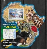 SIERRA LEONE BF 954  * *  ( Cote 20e )  Parc Tanzanie Oiseaux Stapule Girafe Antilope - Ooievaars