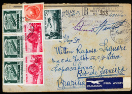 ROMANIA. 1951 (June 25). Registered Airmail Cover To BRAZIL Franked By 1948 Airmail 2x50L, 1950L, 1951 Womens Day 11L, 1 - Zonder Classificatie