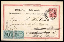 GERMANY. 1889 (Feb 20). 10pf Stationery Card Used To Messina, Sicily Cancelled Konigsberg Cds, Readdressed On Arrival Wi - Germany