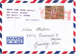 Peru Air Mail Cover With Meter Cancel And A Stamp Sent To Germany 14-12-1990 - Peru