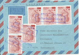 Peru Air Mail Cover With 6 Of The Same Stamp Sent To Germany - Peru