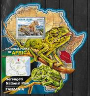 SIERRA LEONE BF 959  * *  ( Cote 20e )  Parc Tanzanie Panthere Chamaeleo - Roofkatten