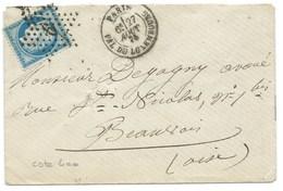 N° 60 BLEU CERES SUR LETTRE / PARIS PALAIS DU LUXEMBOURG POUR BEAUVAIS / 1875 - Storia Postale