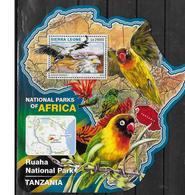 SIERRA LEONE BF 961  * *  ( Cote 20e )  Parc Tanzanie Oiseaux Sagittarius Serpentarius Perroquets - Vogels