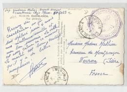 Marcophilie Maroc Casablanca 1956 Cachet Gendarmerie Nationale Base Aérienne Airport  Cazes Pour Voiron - Marcophilie (Lettres)