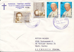 Peru Cover Sent To Germany 3-11-1988 Topic Stamps Music And POPE (bended Cover) - Peru