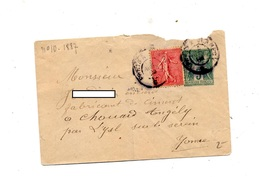 Lettre Entiere 5 Sage + Semeuse Cachet - Postal Stamped Stationery