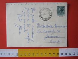 PC.4 ITALIA CARTOLINA POSTALE - 1953 SIRACUSANA £ 20 SCRITTA ALTO DA SALSOMAGGIORE TERME X QUARTO DEI MILLE GENOVA 1958 - 6. 1946-.. Repubblica