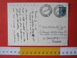 PC.4 ITALIA CARTOLINA POSTALE - 1953 SIRACUSANA £ 20 SCRITTA ALTO DA GENOVA STAZIONE BRIGNOLE X GENOVA 1955 - 6. 1946-.. Repubblica