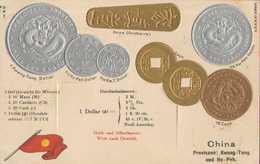 China, Präge-Postkarte, Münzen Provinzen Kwang-Tung Und Hu-Peh - Münzen (Abb.)