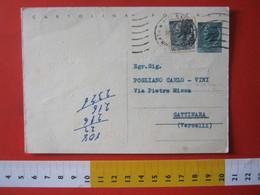 PC.4 ITALIA CARTOLINA POSTALE - 1953 SIRACUSANA £ 20 SCRITTA ALTO DA MILANO X GATTINARA VERCELLI 1959 - 6. 1946-.. Repubblica